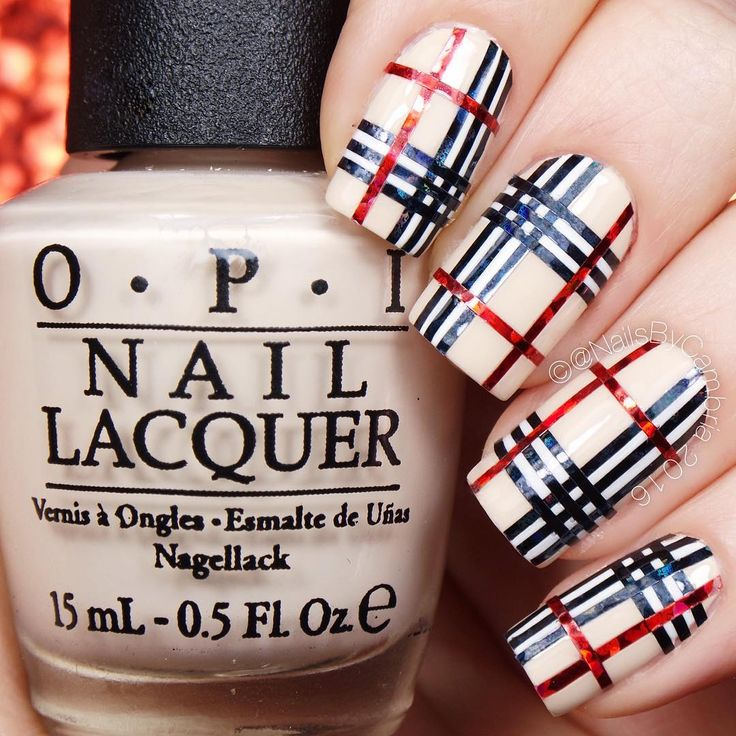 Burberry Inspired Plaid Nails