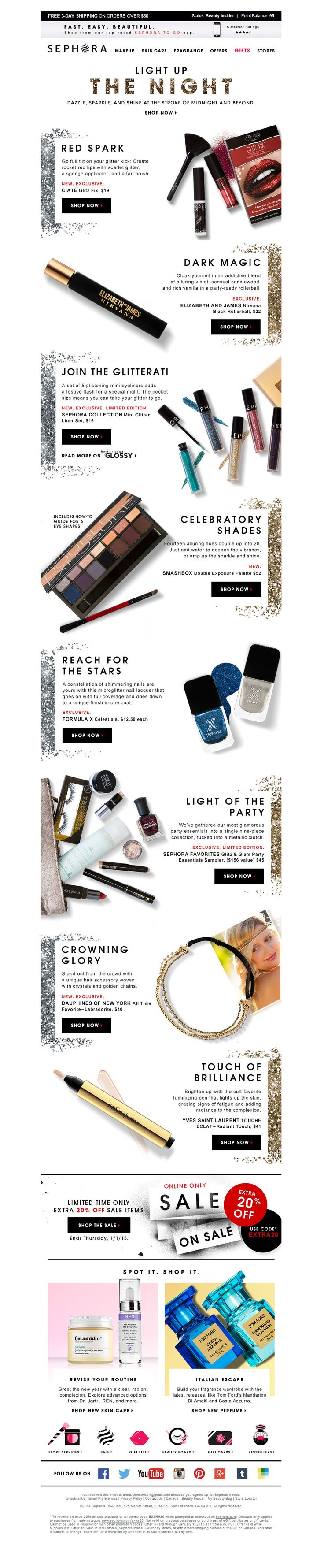 """The email starts with an animated GIF that makes """"THE NIGHT"""" glitter. The eye meanders down the page, pausing on the glittered product descriptions on either side of the email. Fancy."""