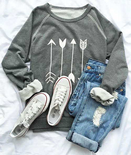 Arrow sweatshirt, $22.99! Free shipping & Easy Return + Refund! Expose your body in this casual sweatshirt, it won't fail your expectation! Make you fashionable all time! Find more at Cupshe.com !
