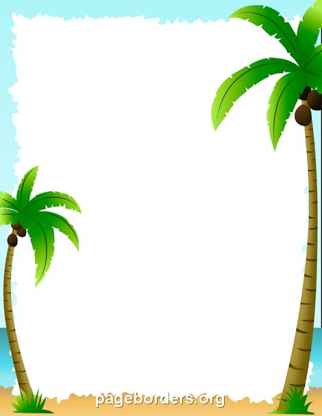 Printable palm tree border. Use the border in Microsoft Word or other programs for creating flyers, invitations, and other printables. Free GIF, JPG, PDF, and PNG downloads at http://pageborders.org/download/palm-tree-border/