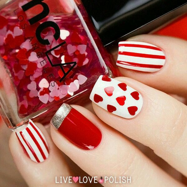 Red & White Stripes, Hearts, Nail Art ❤