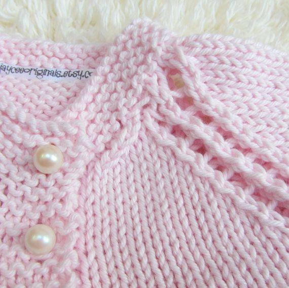 Hand Knit Cotton Baby Set by jayceeoriginals on Etsy