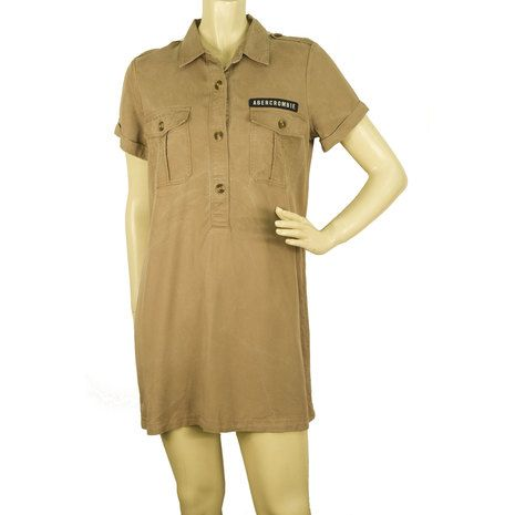 Abercrombie & Fitch Beige Shirt Casual Everyday Safari Look mini dress size S