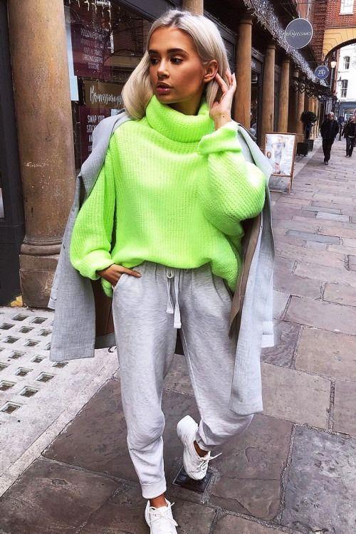 edb1674a109 Neon Lime Green Roll Neck Jumper Dress - Freylynn in 2019