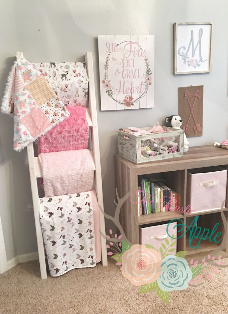 Chunky Blanket Ladder in Baby Girl Nursery.   Rustic