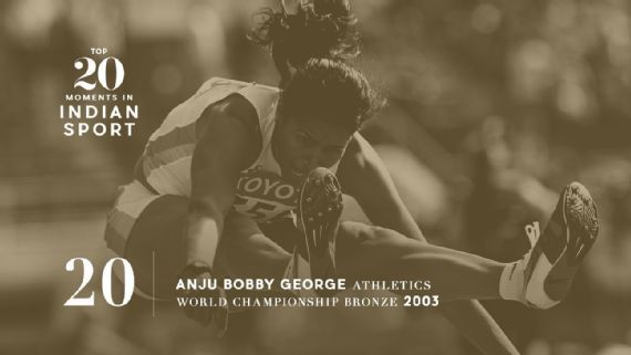 20: Anju Bobby George wins world championship medal - Anju Bobby George became the first Indian athlete to win a medal at the World Championships when she won bronze at long jump in 2003. Source: Mark Dadswell/Getty Images   www.piclectica.com #piclectica