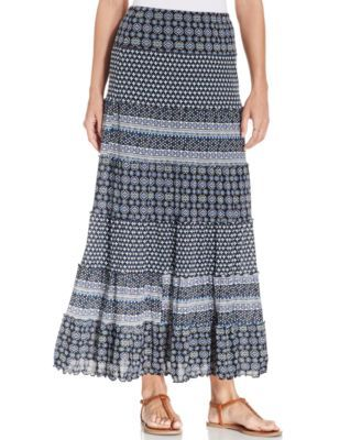 JM Collection Tiered Mixed-Print Maxi Skirt-$34.99