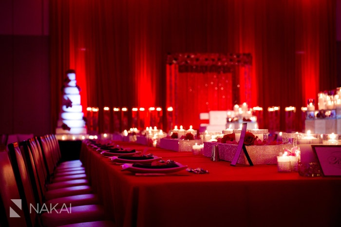 Chicago wedding photo at intercontinental ohare red pink gold