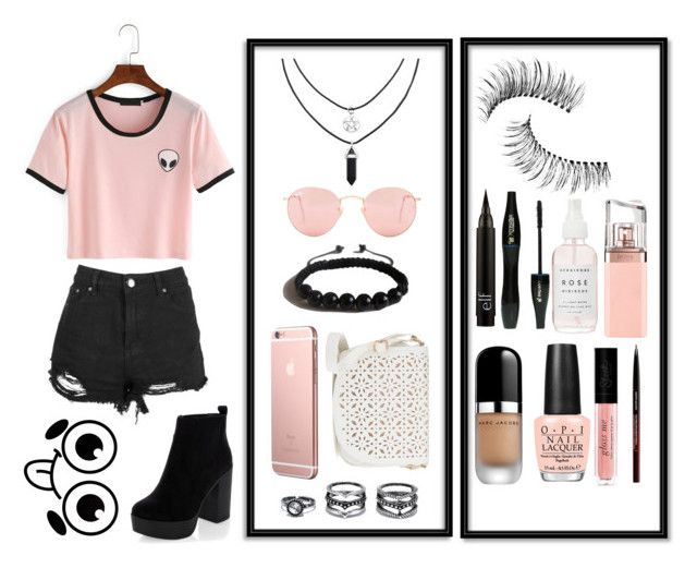 """""""Cute"""" by harmzilly on Polyvore featuring Ray-Ban, Shamballa Jewels, LULUS, Trish McEvoy, Lancôme, HUGO, Marc Jacobs, OPI, Kevyn Aucoin and New Look"""