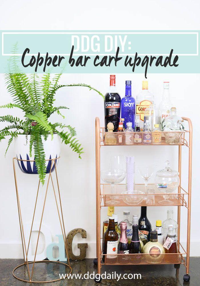 Bar cart upgrade tutorial. Copper hack on kmart cart.