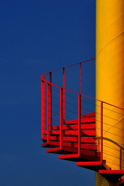 "Impulse by Eric ""Kala"" Forey, via 500px steps stairs stairways red yellow spiral exterior"