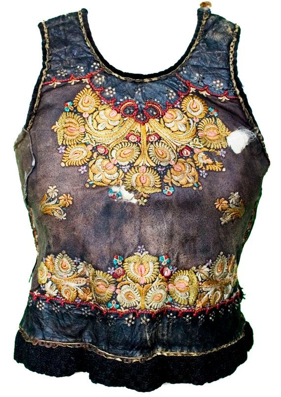 1800s 1900s Vest Hungarian Ethnic Embroidered Sheepskin Fur Lined Boho Bavarian Oktoberfest Shepherd Hungary Folk Bohemian European Costume
