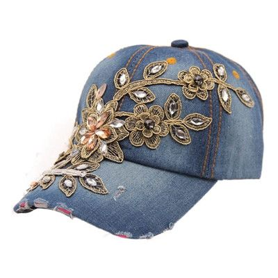 Best Deal High Quality 2017 New Fashion Women Crystal Flower Baseball Cap Summer Style Lady Jeans Hat Female Ladies Gorras