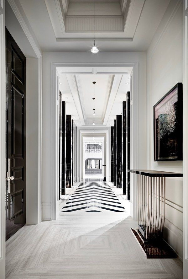 This black-and-white hallway isn't the only mesmerizing thing about this $50 million Ferris Rafauli–designed home in Toronto, an unabashed ode to luxury | archdigest.com