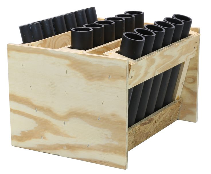 """18-shot consumer mortar rack. Comes with 18 HDPE DR11 12"""" long mortar tubes. Mortar tubes are plugged. For use with all consumer firework mortar shells."""