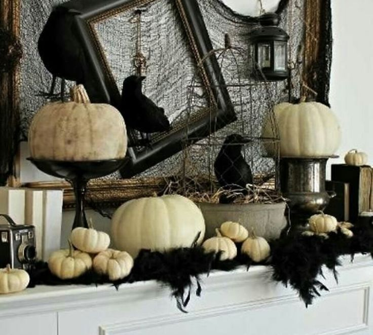 unique vintage style is a great inspiration for halloween decorating in elegant black and white color combination - Halloween Display Ideas