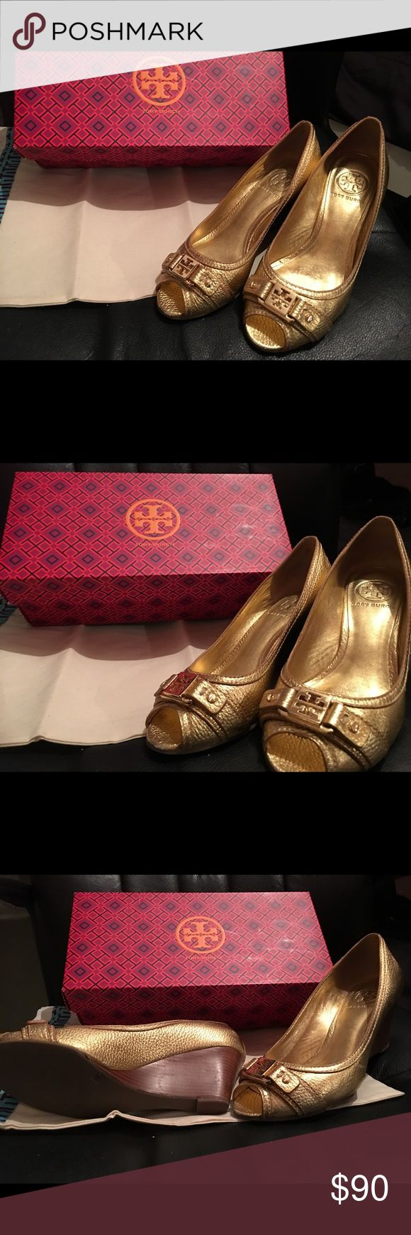 Tory burch metallic wedge Tory Burch gold wedge size 7 Tory Burch Shoes Wedges