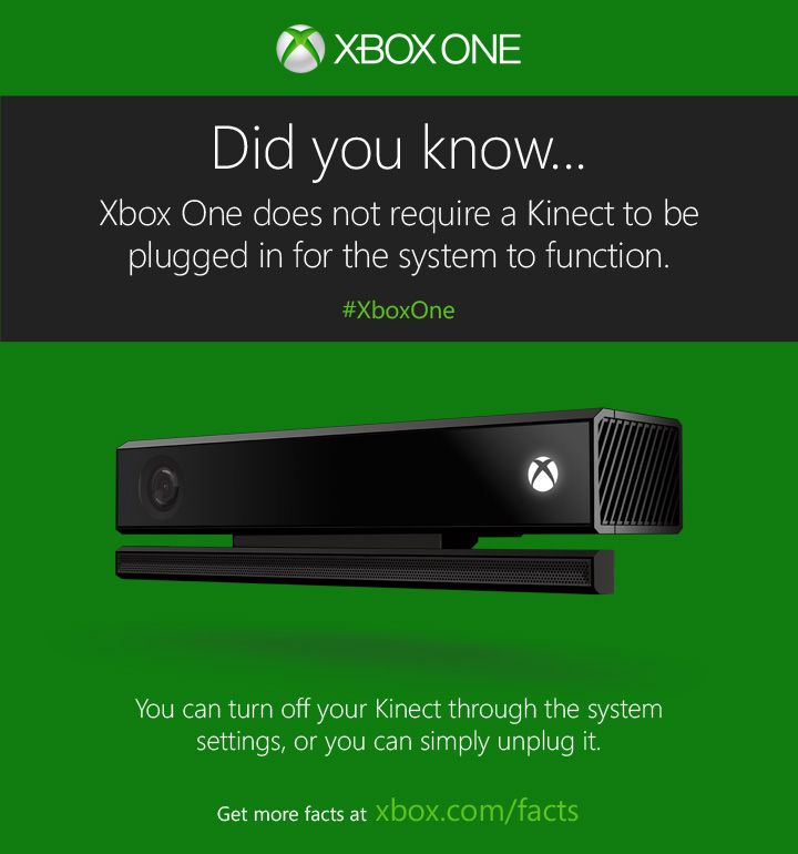 Yes, you can play with Kinect unplugged. (Or just turn it off in your settings.)  http://www.xbox.com/xbox-one/get-the-facts