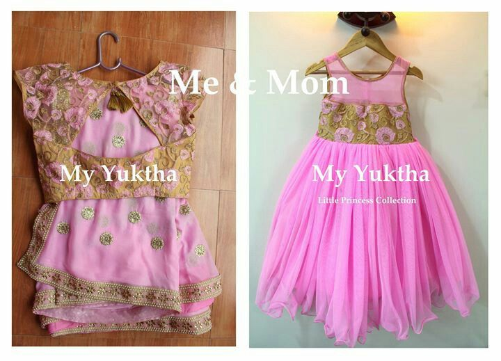 Georgette saree for mom and long frock for kid