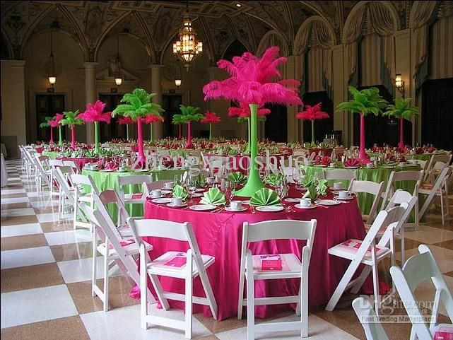 pink and lime green wedding reception centerpieces with. Black Bedroom Furniture Sets. Home Design Ideas