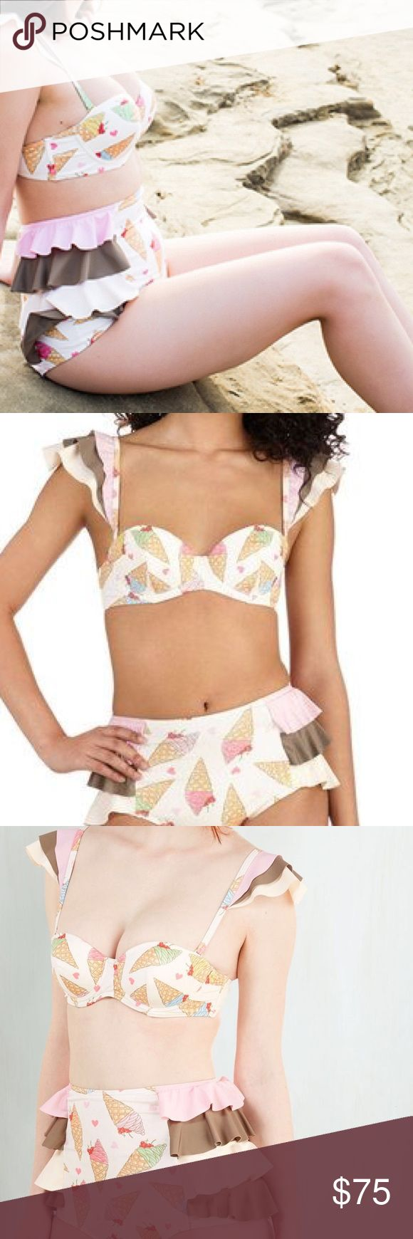 Retro High waist ice cream bikini, XS Fits A-B cup Fits A-B cup. Sold out online. Size XS ModCloth Swim Bikinis