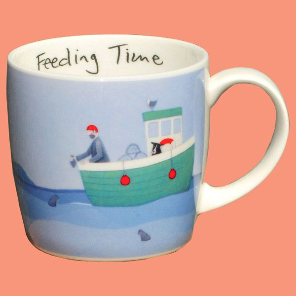 A fishing boat themed fine bone china mug dishwasher safe 13cm tall holds 10 fl. oz. or 272 ml.