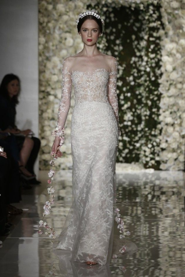 exquisite lace wedding dress with illusion bodice, neckline and sleeves by Reem Acra