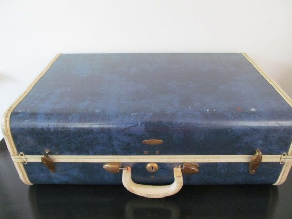 old samsonite luggage hard shell | Vintage Dark Blue Samsonite Hard Case Luggage by Mumscottage, $30.00