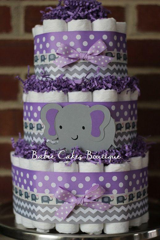 3 Tier Purple and Gray Elephant Diaper Cake, Purple Gray Elephant Baby Shower, Girl Centerpiece, Purple Grey Chevron Elephant Shower Decor
