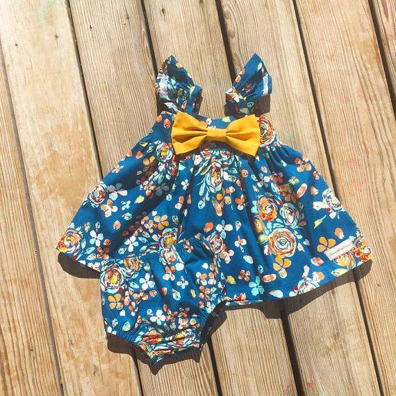 Vestido floral de AVA azul marino traje de Pascua niñas bebé