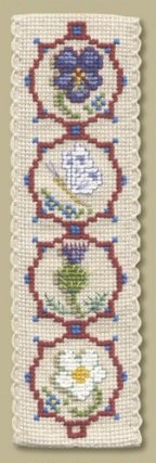 Counted cross stitch - a Medieval Flowers Bookmark I made. I bought the kit in England as from the Textile Heritage collection.