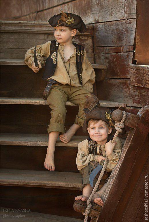 Купить ПИРАТСКИЙ КОСТЮМ - коричневый, пиратский костюм, пиратская вечеринка, пиратская шляпа, пиратский сундук