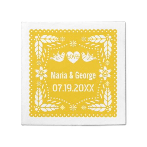 Papel picado love birds yellow wedding fiesta