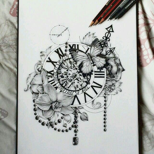 Time is Precious Waste it Wisesly - Pocket Watch Flowers