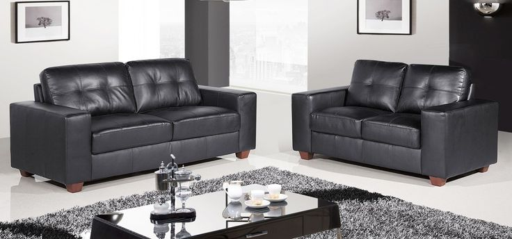 roma 3   2 black leather sofas