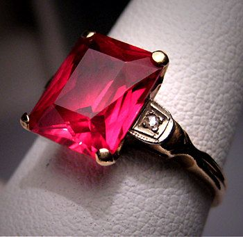 Antique Ruby Diamond Ring Vintage Art Deco by AawsombleiJewelry, $965.00