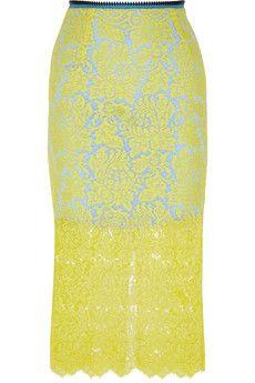 Preen by Thornton Bregazzi Chelsea lace crepe de chine midi skirt | NET-A-PORTER