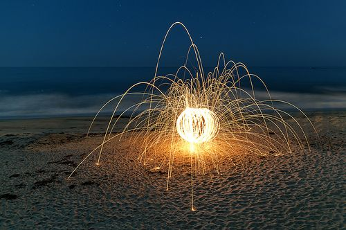 This is apparently what happens when you light steel wool on fire....I'm going to be experimenting with this soon.