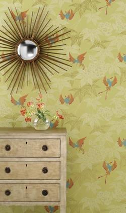 Osborne Little Tapete GROVE GARDEN 1 Tara Wallpaper Album 5 Vögel Rot Blau  Auf Grün Gold