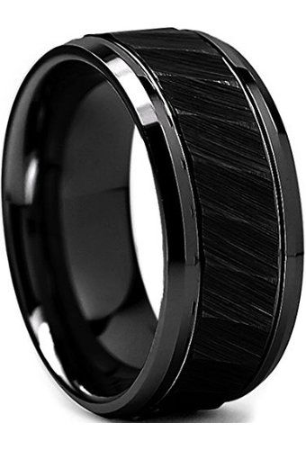 King Will 8mm Black Mens Tungsten Ring Hammered Design Step Edge Brushed Surface Wedding Band Gift Box