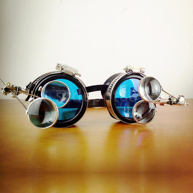 Vintage Victorian Steampunk Goggles Glasses Welding Diesel Punk Biker Gothic Rave Cosplay Blue Lens with Magnifying Loupes