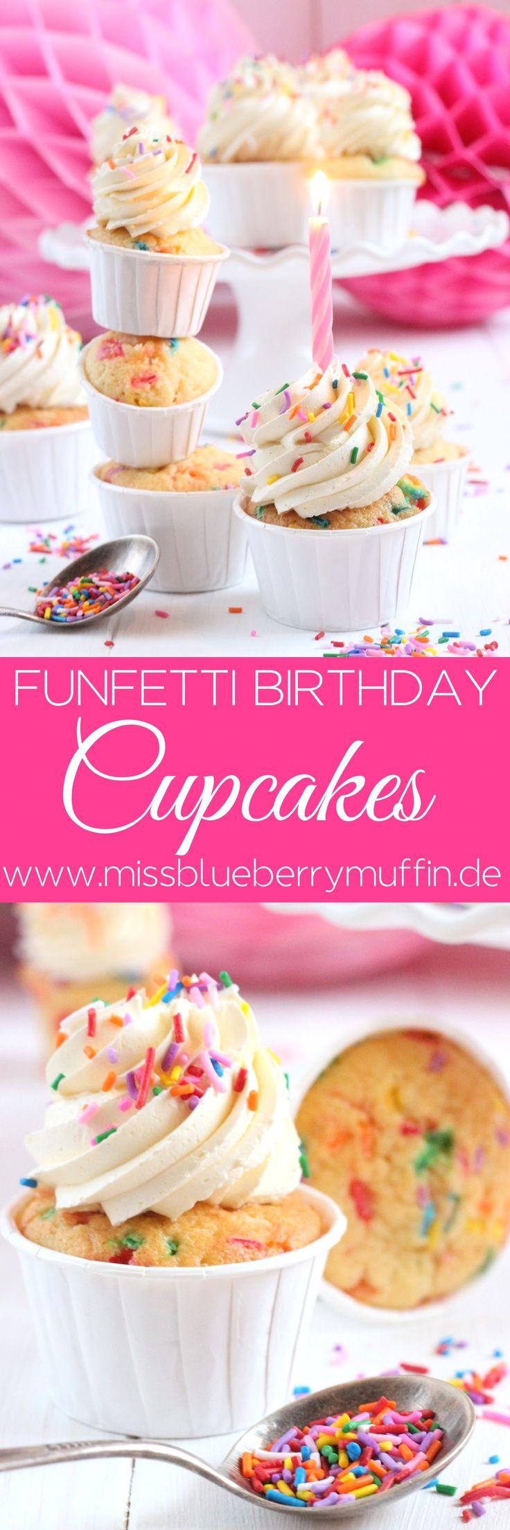 Geburtstags Cupcakes mit bunten Streuseln // Geburtstagskuchen // Birthday Funfetti Cupcakes <3