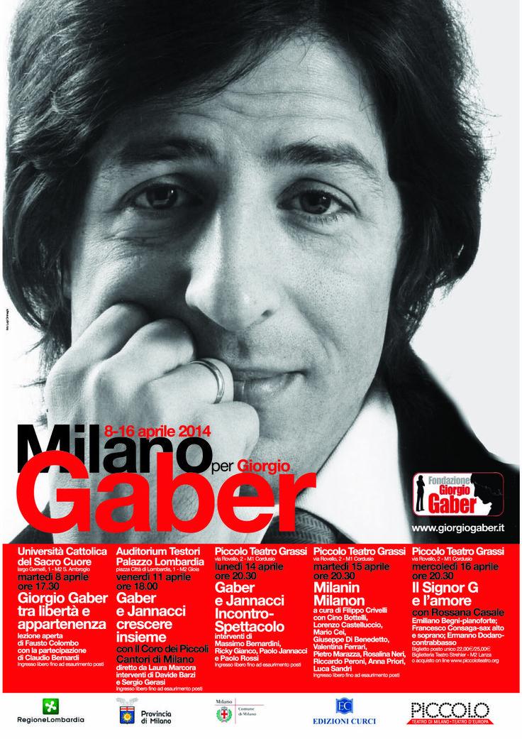 """#performance """"Milano per Gaber"""" un ciclo di incontri tra teatro e canzone dedicati al grande artista www.giorgiogaber.it"""