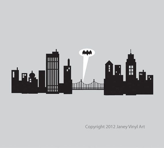 Super Hero Room Decal - Batman Gotham City - Skyline - Cityscape