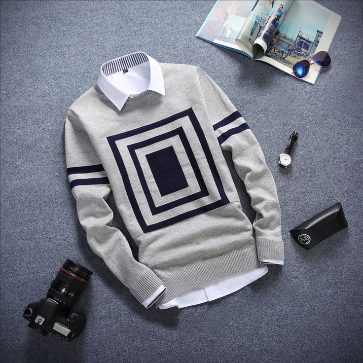 New Arrival Pullover Sweater Men Long Casual Fashion Pattern Patchwork Design Plaid Print Knited Sweater Men Pull Chandail Homme
