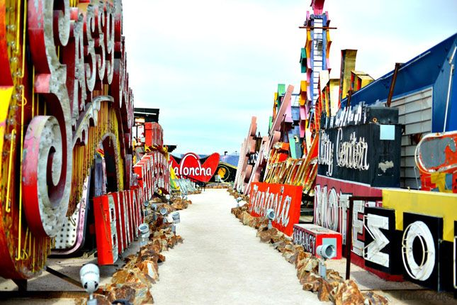25 Wacky Roadside Attractions for Your Next Road Trip - The Neon Museum (Las Vegas, NV): It's not surprising that a city built for nightlife is home to this gaudy, glitzy museum filled with signs from old casinos and other businesses. Displayed over six a