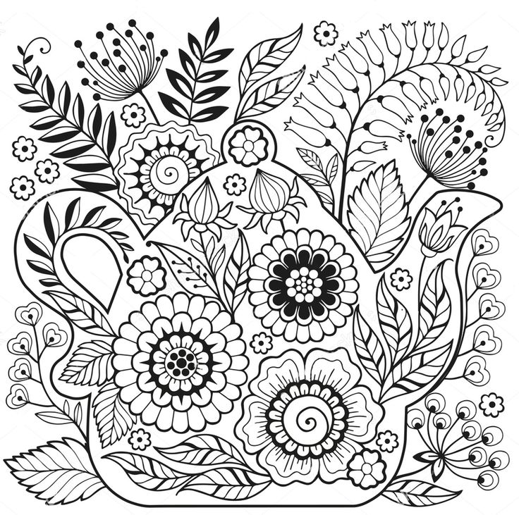 Tea pot zentangle coloring page