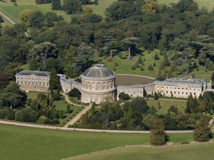 An aerial view from the south of Ickworth House.  The original idea of the Earl-Bishop was to live in the central rotunda and use the rest to show off his enormous art collection, hence the south facing windows to let in the maximum light.  In the end family lived in the East Wing to the right.