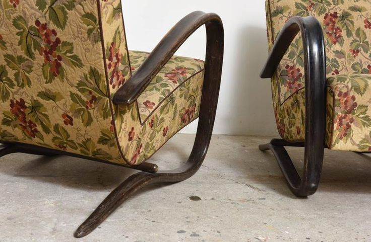 Pair of Art Deco Lounge Chairs Designed by Jindrich Halabala 8