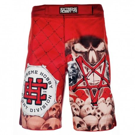 Grappling shorts PENTAGRAM. Color: red. Extreme Hobby shorts is a new design of MMA oriented fightwear. Innovative lacing system provide a perfect and firm fit while sewn in the crotch strech panel and leg cuts ensure unlimited range of motion and unmatched comfort. Special Waistband prevents shorts from slipping during fight.  Reinforced seams for greater durability.